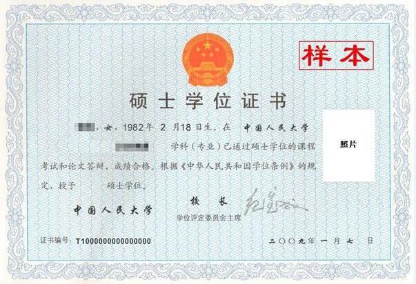 中国人民大学在职研究生硕士学位证书样本